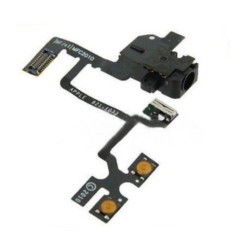 Шлейф (Flat cable) iPhone 4 с кнопками регулировки звука, коннектором наушников чёрный orig