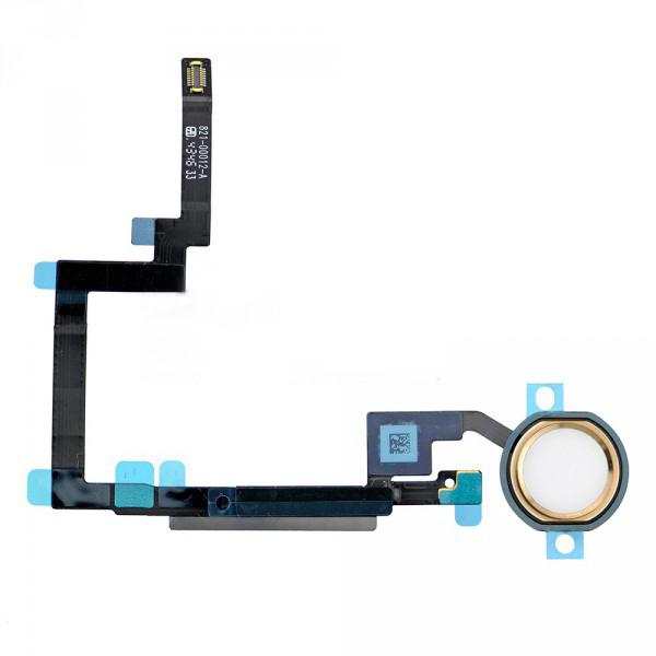 Шлейф (Flat cable) iPad mini 3 под кнопку Home с компонентами + золотистая накладка orig