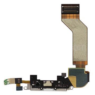 Шлейф (Flat cable) iPhone 4S с разъемом зарядки и микрофоном, чёрный high copy