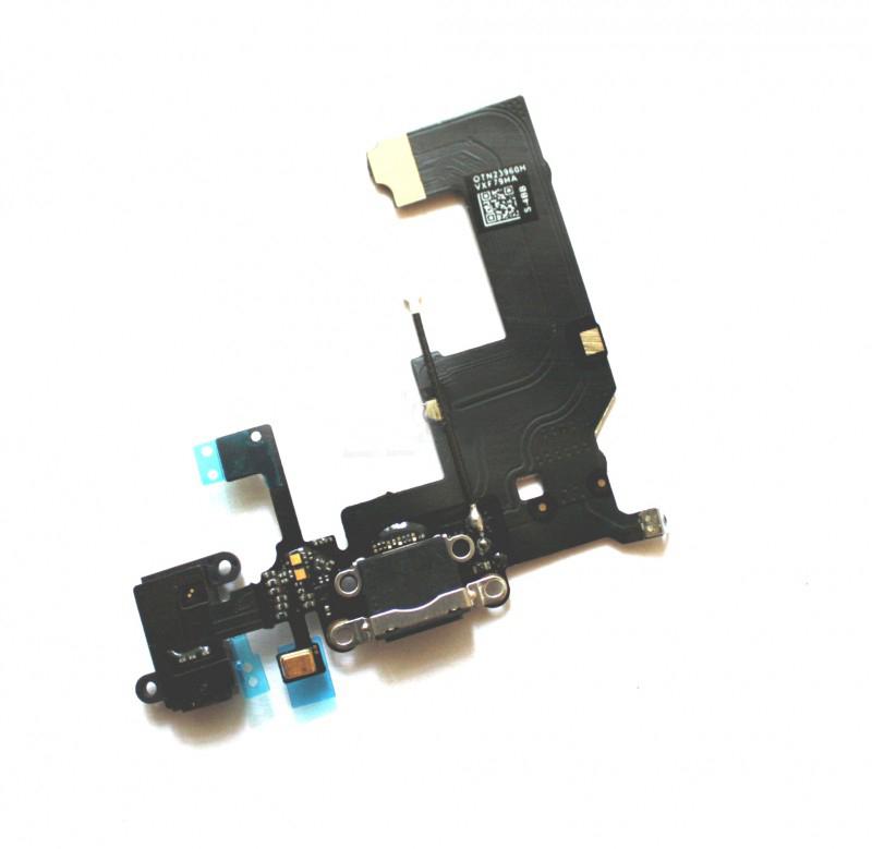 Шлейф (Flat cable) iPhone 5 с гнездом зарядки, гнездом на наушники, микрофоном чёрный orig