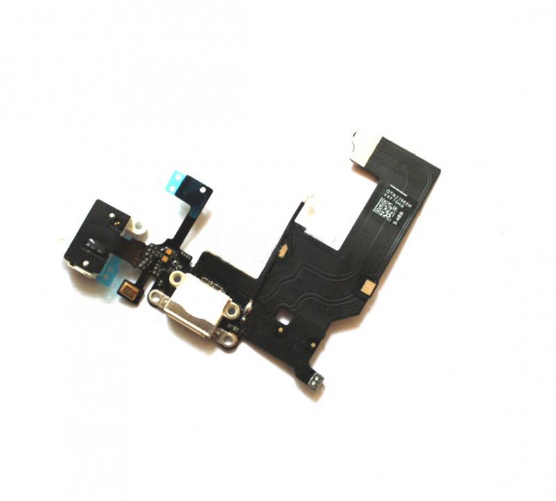 Шлейф (Flat cable) iPhone 5 с гнездом зарядки, гнездом на наушники, микрофоном белый orig