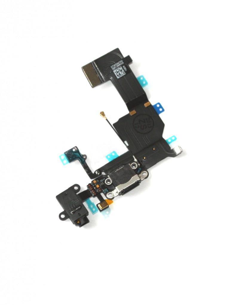 Шлейф (Flat cable) iPhone 5C с гнездом зарядки, гнездом на наушники, микрофоном чёрный orig