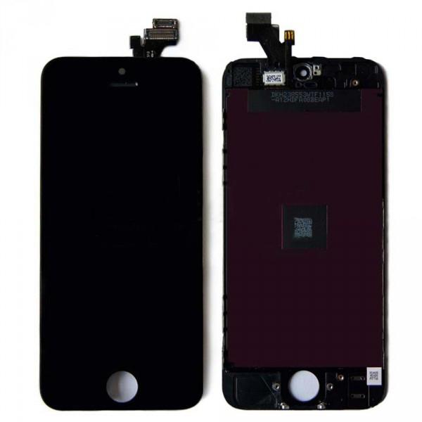 Дисплей iPhone 5 черный (LCD экран, тачскрин, стекло в сборе) high copy