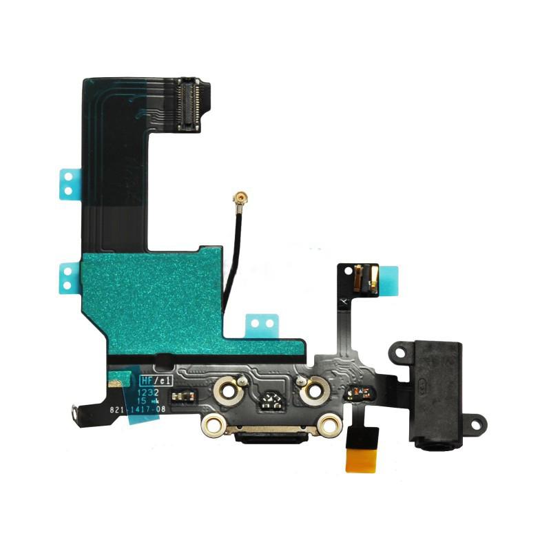 Шлейф (Flat cable) iPhone 5S с гнездом на зарядку, гнездом на наушники, микрофоном чёрный high copy