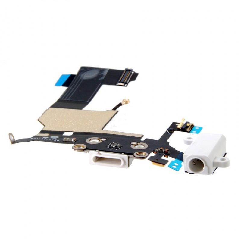 Шлейф (Flat cable) iPhone 5S с гнездом на зарядку, гнездом на наушники, микрофоном белый high copy