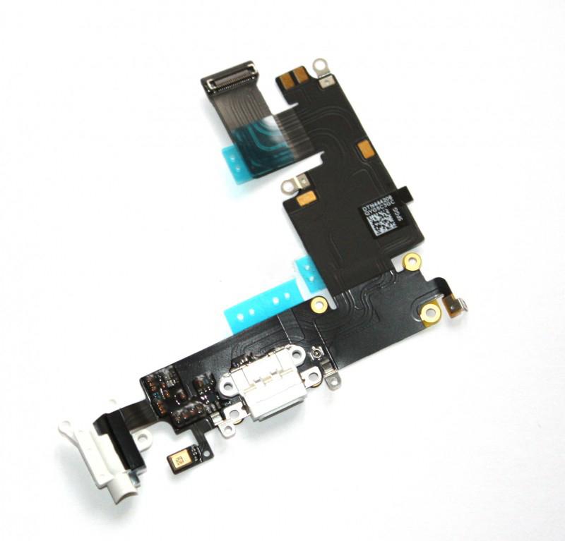 Шлейф (Flat cable) iPhone 6 Plus с гнездом на зарядку, гнездом на наушники, микрофоном белый orig