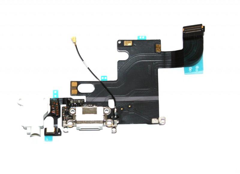 Шлейф (Flat cable) iPhone 6 с разъёмом зарядки, коннектором наушников и микрофоном белый orig