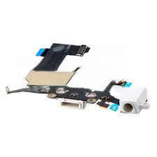 Шлейф (Flat cable) iPhone 5S с гнездом на зарядку, гнездом на наушники, микрофоном белый orig