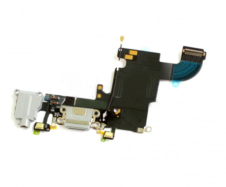 Шлейф (Flat cable) iPhone 6S с разъёмом зарядки, коннектором наушников и микрофоном светло-серый orig