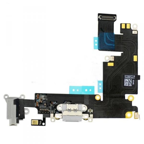 Шлейф (Flat cable) iPhone 6S Plus, с разъёмом зарядки, коннектором наушников, микрофоном серый orig