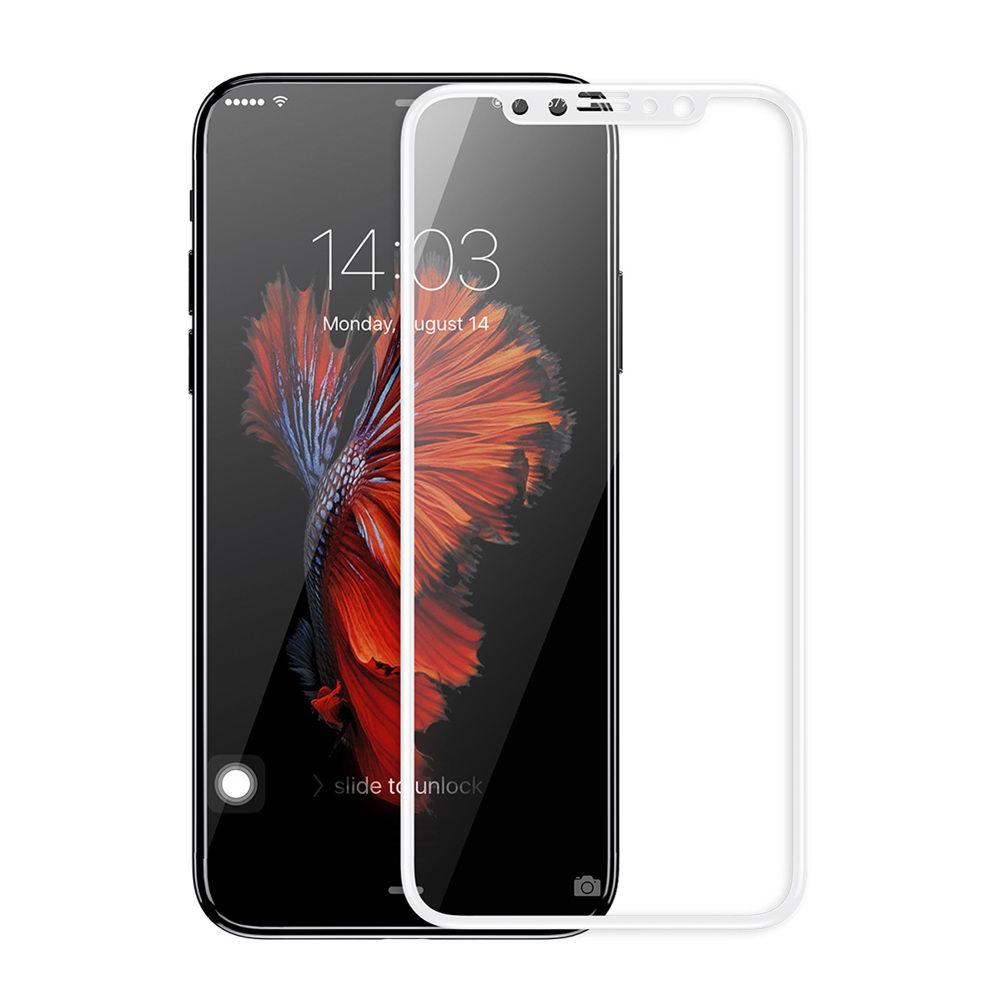 Защитное стекло дисплея iPhone X белое (0.3 мм, 5D)